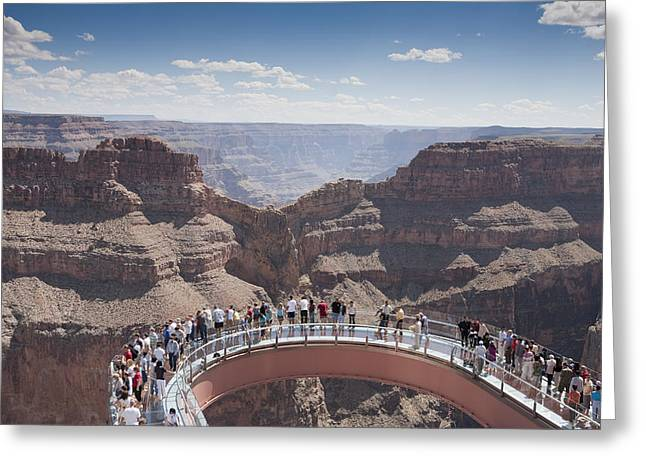National Geographic - Greeting Cards - A View Of The Skywalk Over The Grand Greeting Card by John Burcham
