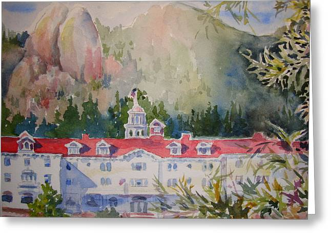 Mummy Range Greeting Cards - A View of the Stanley Hotel Greeting Card by Pamela England