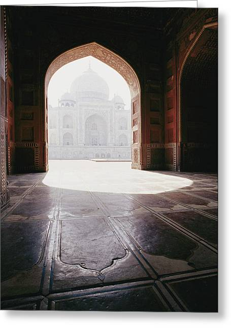 Doors And Doorways Greeting Cards - A View Of The Taj Mahal From A Nearby Greeting Card by Jason Edwards