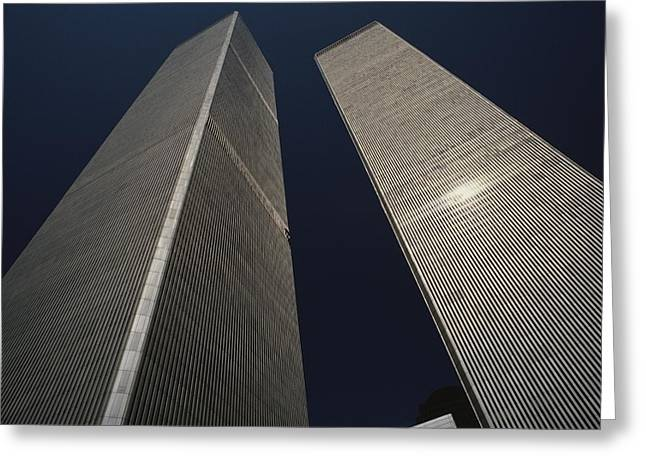 Terrorists Greeting Cards - A View Of The Twin Towers Of The World Greeting Card by Roy Gumpel