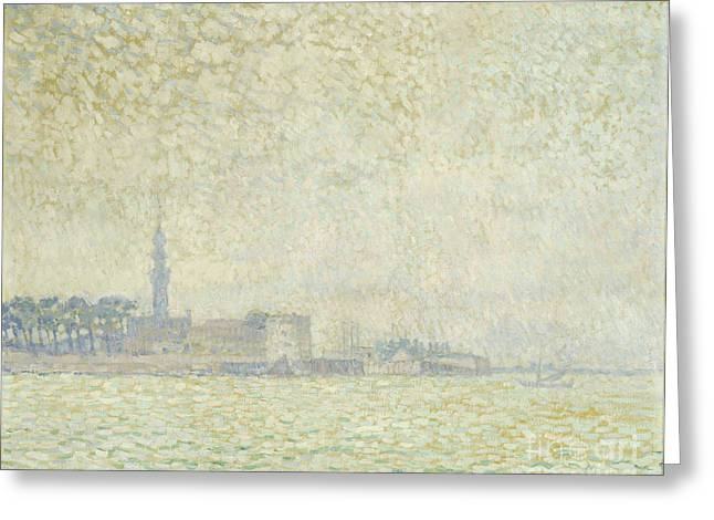 Dutch Lighthouse Greeting Cards - A View of Veere Greeting Card by Theo van Rysselberghe
