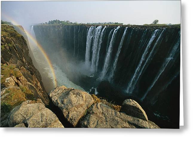 Zimbabwe Greeting Cards - A View Of Water Rushing Over Victoria Greeting Card by Michael S. Lewis