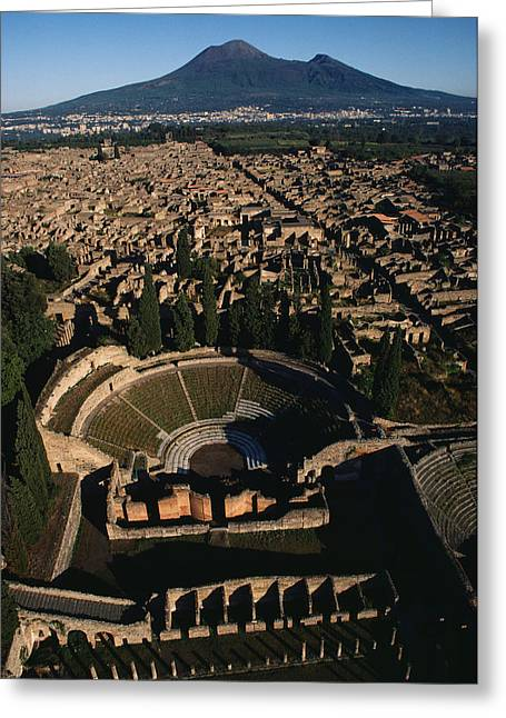 Ancient People Greeting Cards - A View Over Pompeii Toward Mount Greeting Card by O. Louis Mazzatenta
