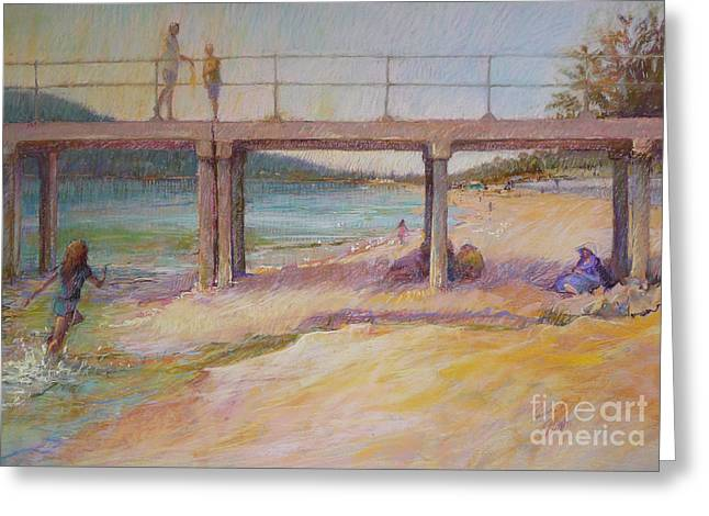 Swimmers Pastels Greeting Cards - A View Through-Dromana 2011 Greeting Card by Pamela Pretty