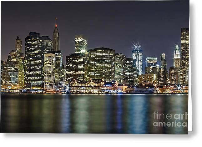 Freedom Greeting Cards - A View To Lower Manhattan Greeting Card by Susan Candelario