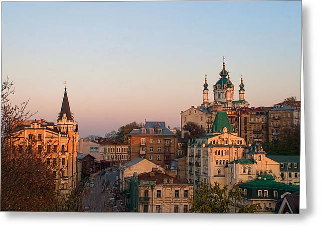 Kyiv Greeting Cards - A View to St. Andrews Greeting Card by Matthew Shalvatis