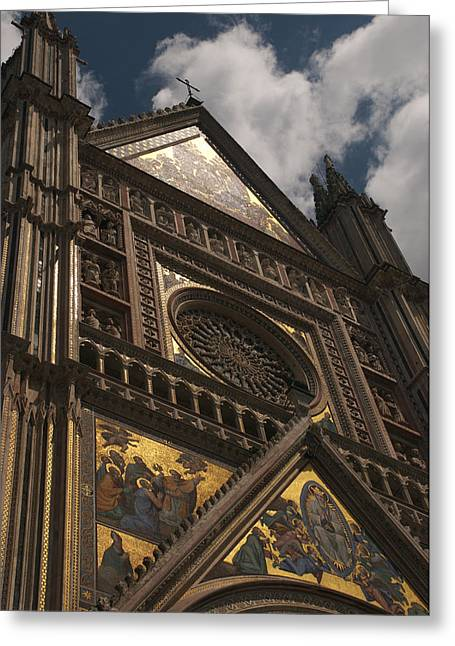 Orvieto Greeting Cards - A View Upward At The Duomo Di Orvieto Greeting Card by Heather Perry