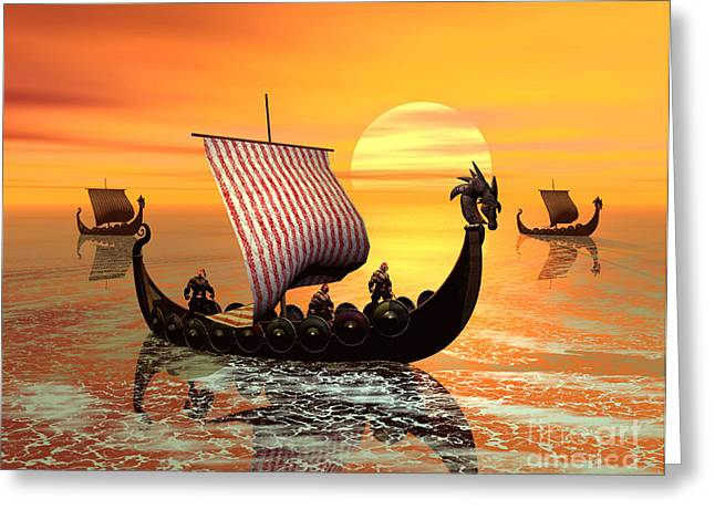 A viking ship on the move Greeting Card by John Junek