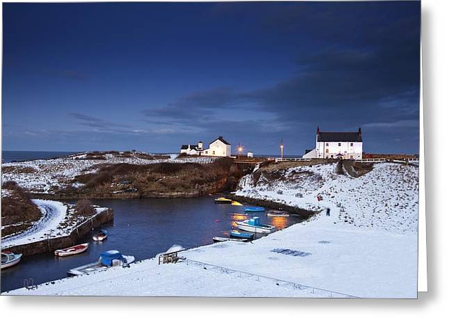 Overcast Day Greeting Cards - A Village On The Coast Seaton Sluice Greeting Card by John Short