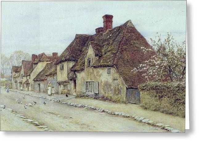 Row Greeting Cards - A Village Street Kent Greeting Card by Helen Allingham