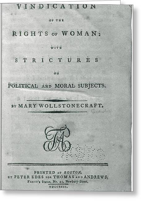Title Page Greeting Cards - A Vindication Of The Rights Of Woman Greeting Card by Photo Researchers
