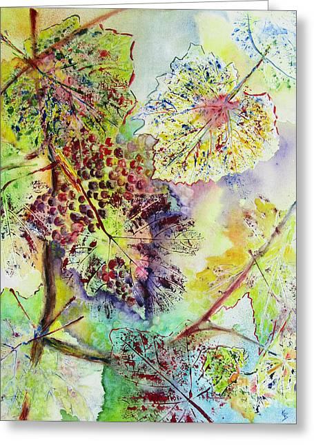 Grape Leaves Greeting Cards - A Vineyard Morning Greeting Card by Karen Fleschler