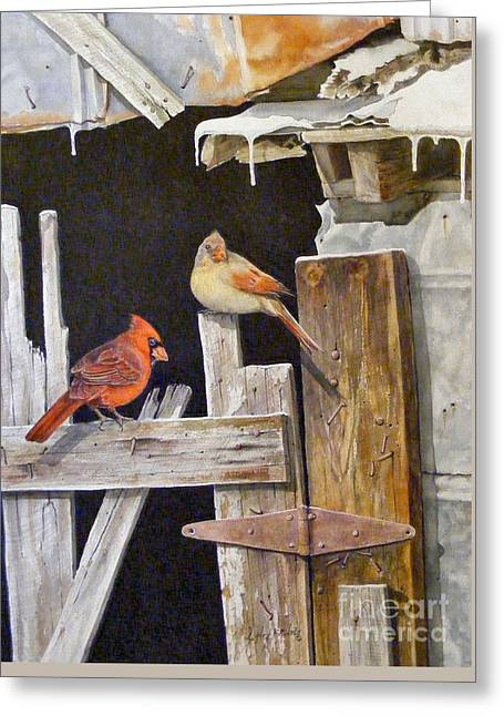 A Visit To Daddy's Barn  Sold Greeting Card by Sandy Brindle