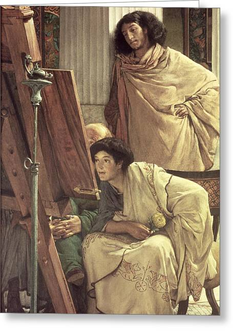 Artist At Work Greeting Cards - A Visit to the Studio Greeting Card by Sir Lawrence Alma-Tadema