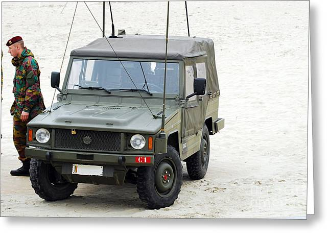 A Vw Iltis Jeep Of A Unit Of Belgian Greeting Card by Luc De Jaeger