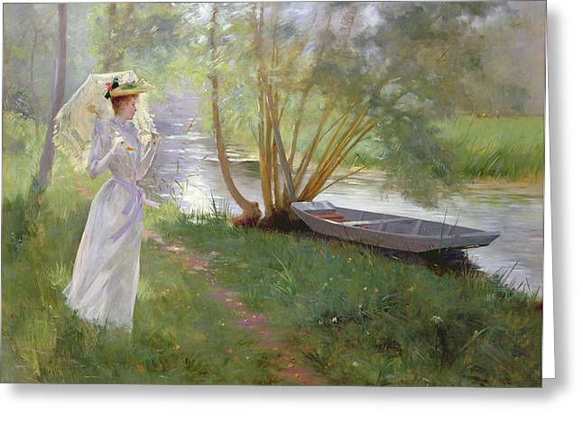 Umbrellas Greeting Cards - A walk by the river Greeting Card by Pierre Andre Brouillet