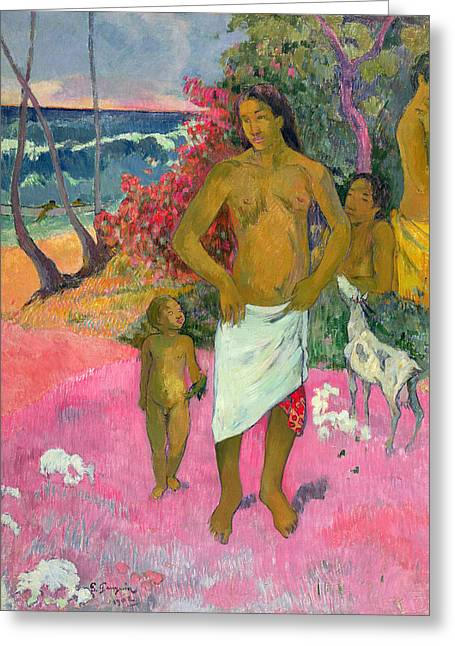 Tahiti Greeting Cards - A Walk by the Sea Greeting Card by Paul Gauguin