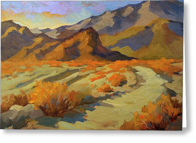 Hiking Paintings Greeting Cards - A Walk in La Quinta Cove Greeting Card by Diane McClary