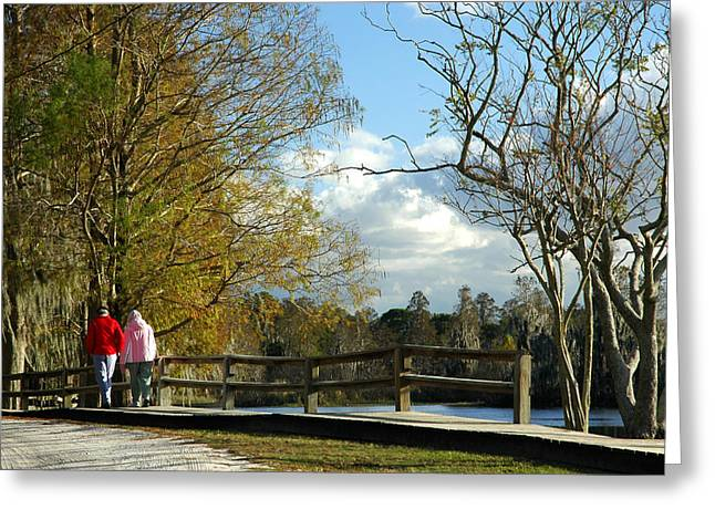 Citizens Greeting Cards - A Walk In The Park Greeting Card by Carolyn Marshall