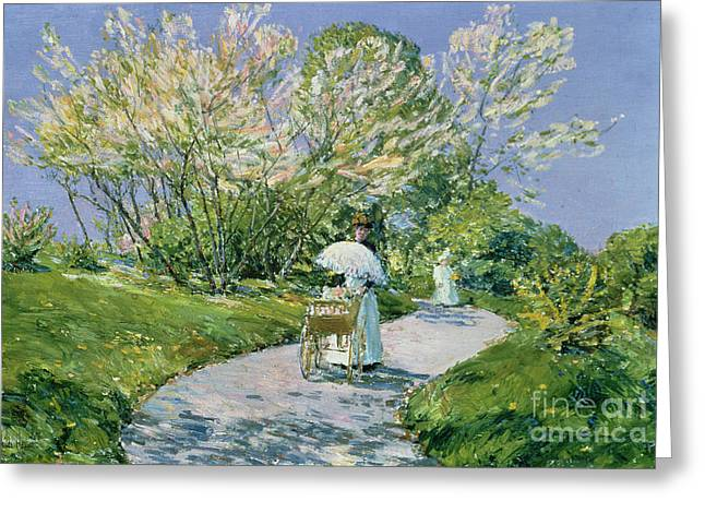 In The Shade Greeting Cards - A Walk in the Park Greeting Card by Childe Hassam