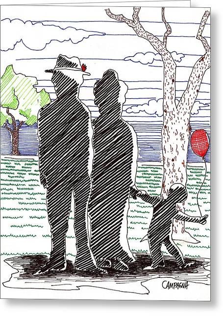 Bare Trees Drawings Greeting Cards - A Walk in the Park Greeting Card by Teddy Campagna