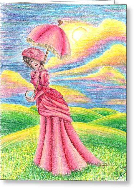 Woman In A Dress Drawings Greeting Cards - A Walk In The Sun Greeting Card by Scarlett Royal