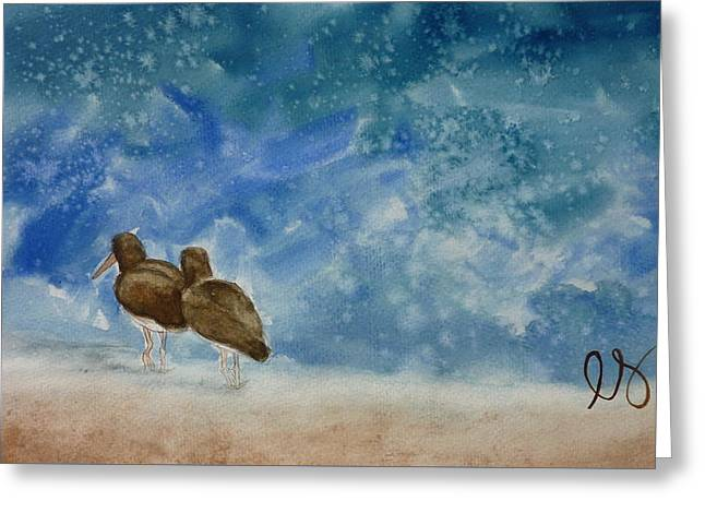 A Walk On The Beach Greeting Card by Estephy Sabin Figueroa