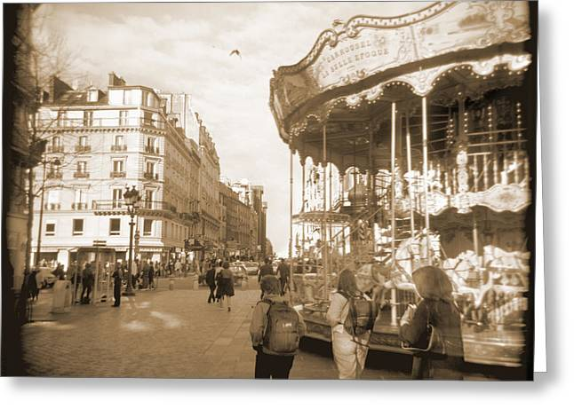 Carousel Greeting Cards - A Walk Through Paris 4 Greeting Card by Mike McGlothlen