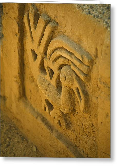 Carved Bird Greeting Cards - A Wall Containing A Sea Bird Motif Greeting Card by Nigel Hicks