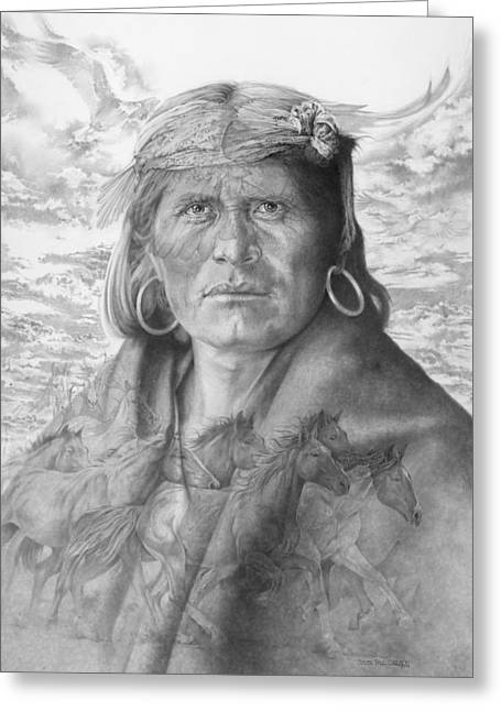 Hopi Indian Greeting Cards - A Walpi Man - The Vanishing Culture Greeting Card by Steven Paul Carlson