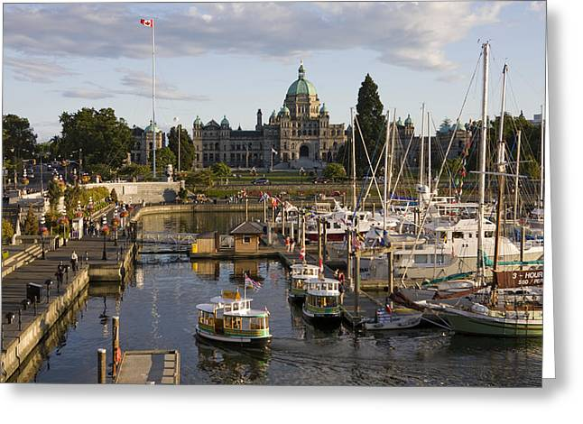 Flag Stones Greeting Cards - A Water Taxi And Inner Harbour Greeting Card by Taylor S. Kennedy
