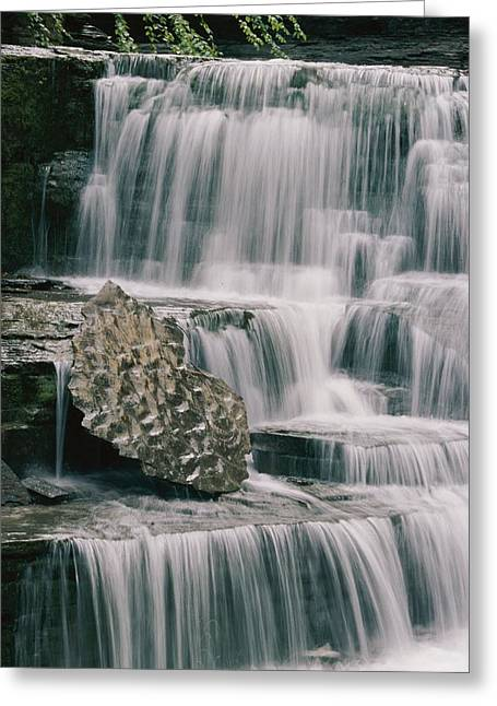 Middle Atlantic States Greeting Cards - A Waterfall And Sculpted Rock In Robert Greeting Card by Skip Brown