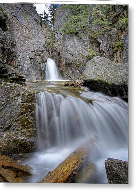 A Waterfall In Kananaskis Greeting Card by Philippe Widling