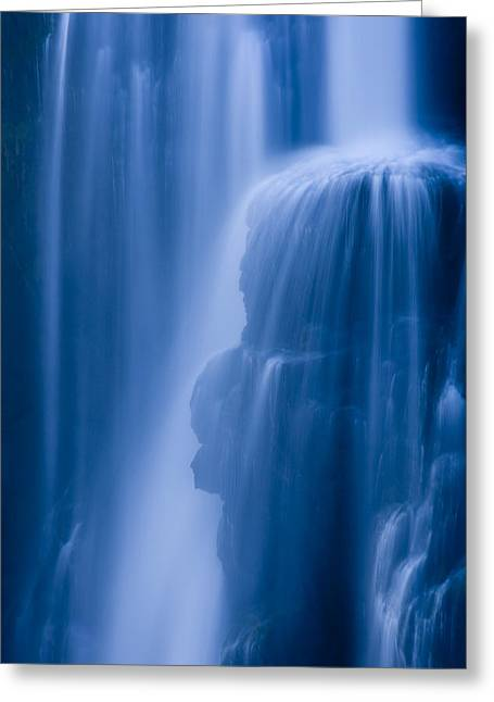 Zambia Waterfall Greeting Cards - A Waterfall Splashes Off Of A Large Greeting Card by Ralph Lee Hopkins