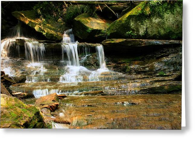 Babbling Greeting Cards - A Waterfall Trio at McConnells Mill State Park Greeting Card by Angela Rath