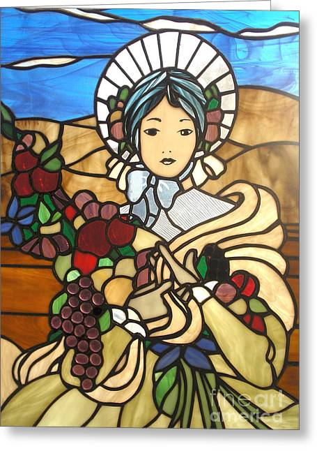 Woman Glass Art Greeting Cards - A Wealth Of Abudance Greeting Card by David Gomm