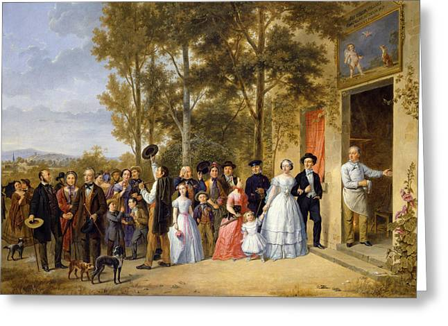 Dated Greeting Cards - A Wedding at the Coeur Volant Greeting Card by French School