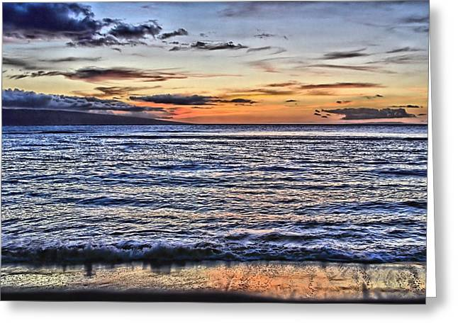 Lahaina Greeting Cards - A Western Maui Sunset Greeting Card by DJ Florek