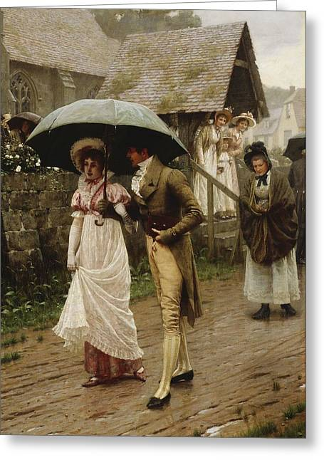 Umbrella Greeting Cards - A Wet Sunday Morning Greeting Card by Edmund Blair Leighton