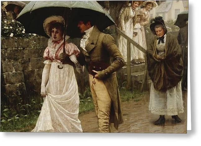 A Wet Sunday Morning Greeting Card by Edmund Blair Leighton