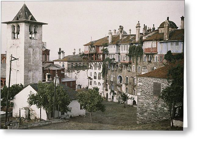 Period Photography Greeting Cards - A White Bell Tower Stands Bright Greeting Card by Maynard Owen Williams