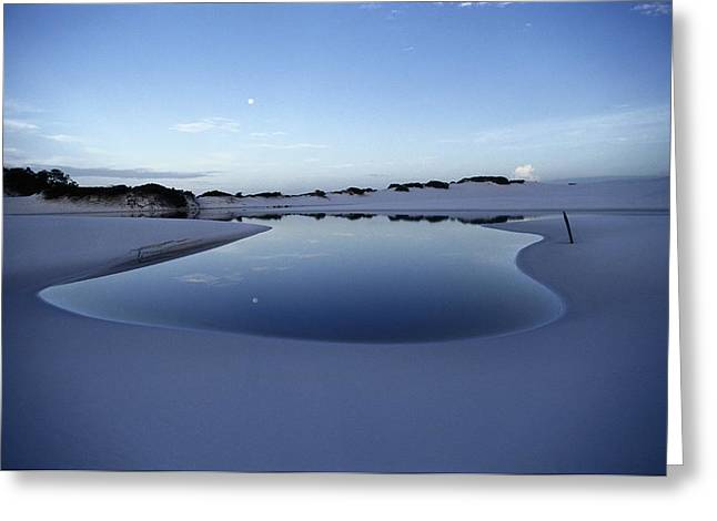 A White Sand Dune With A Pool Of Water Greeting Card by Sam Abell