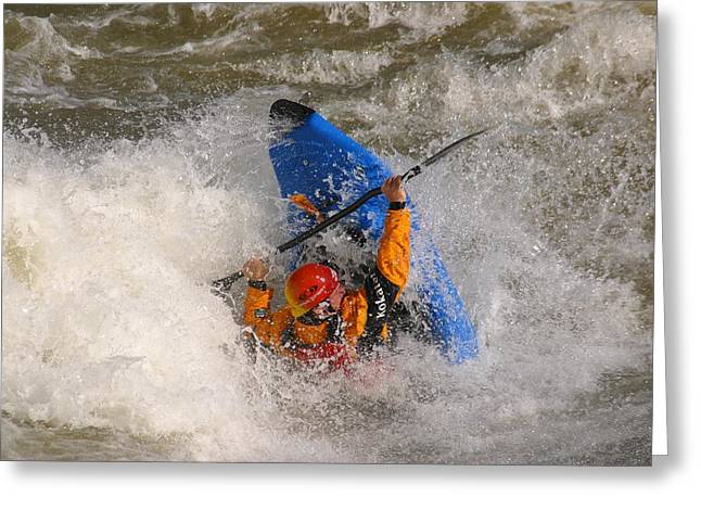 Bravery Greeting Cards - A Whitewater Kayaker Getting Vertical Greeting Card by Skip Brown