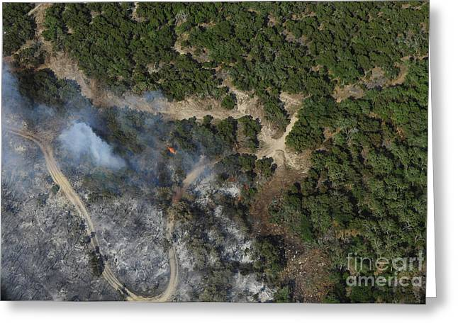 Wildfires Greeting Cards - A Wildfire Burns Land Near Austin Greeting Card by Stocktrek Images