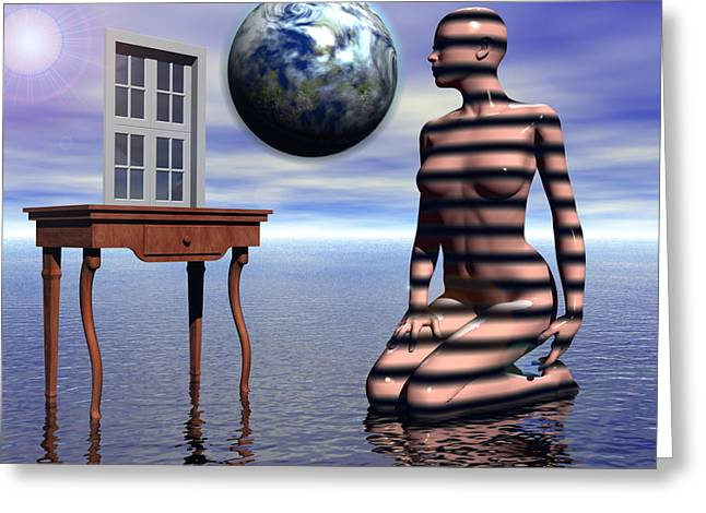 Magical Realism Greeting Cards - A Window into the Virtual Reflection of the Anima Greeting Card by Jon D Gemma