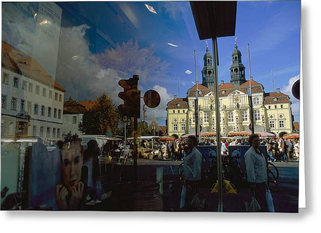 Mixed Age Range Greeting Cards - A Window Reflection Of Luneburgs Town Greeting Card by Sisse Brimberg