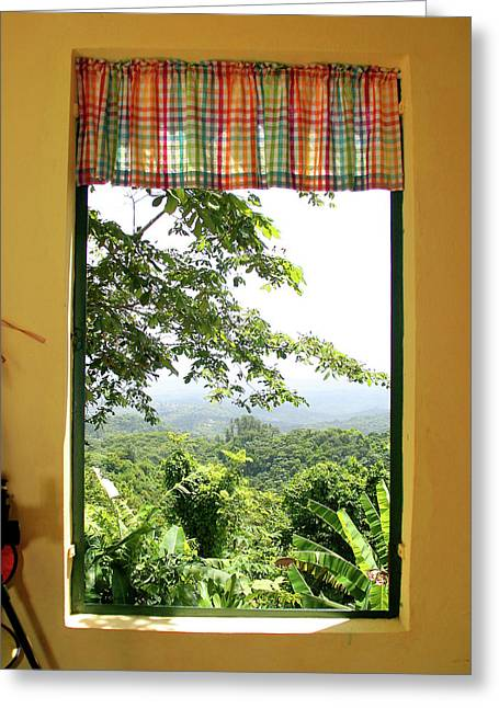 Puerto Rican Culture Greeting Cards - A window to the Hacienda Greeting Card by Leo Miranda