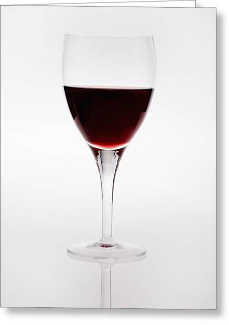 Goblet Greeting Cards - A Wine Glass With Red Wine Greeting Card by Michael Interisano