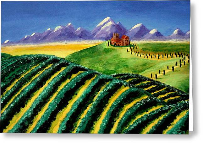 Chianti Greeting Cards - A Winery in Tuscany Greeting Card by Spencer Hudon II