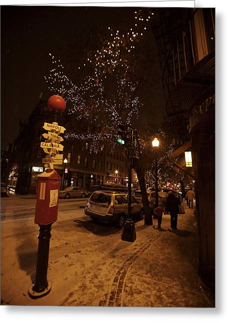Cars In Winter Greeting Cards - A Winter Evening In Bostons North End Greeting Card by Tim Laman